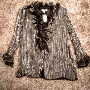 NWT Dressbarn metallic silver and black blouse L